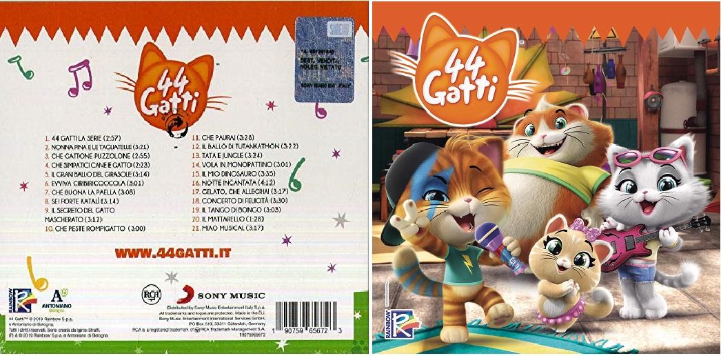 44 gatti cartone animato cd musicale - elenco canzoni - cd cover - musica -canzoni