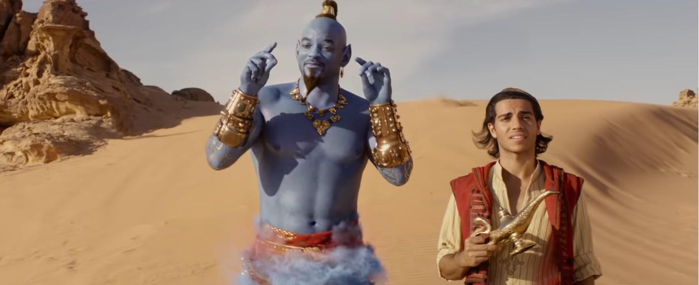 il genio e Aladdin nel film disney live action 2019 aladdin