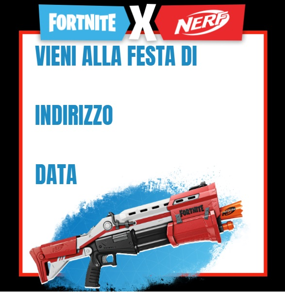 Invito compleanno Nerf Fortnite - Inviti feste compleanno