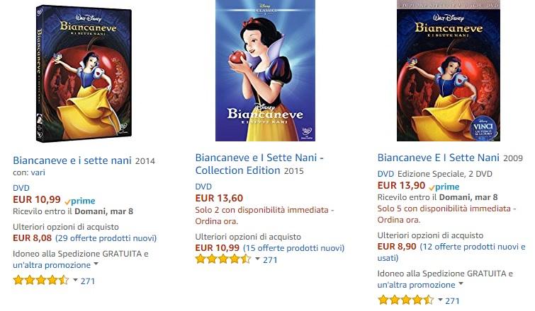prezzi Biancaneve  e i 7 nani dvd - cover dvd - blu-ray - biancaneve principessa disney
