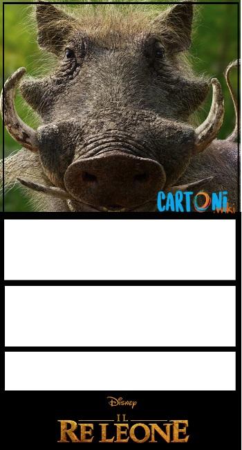 Il Re Leone invito compleanno Pumbaa - Inviti compleanno bambini