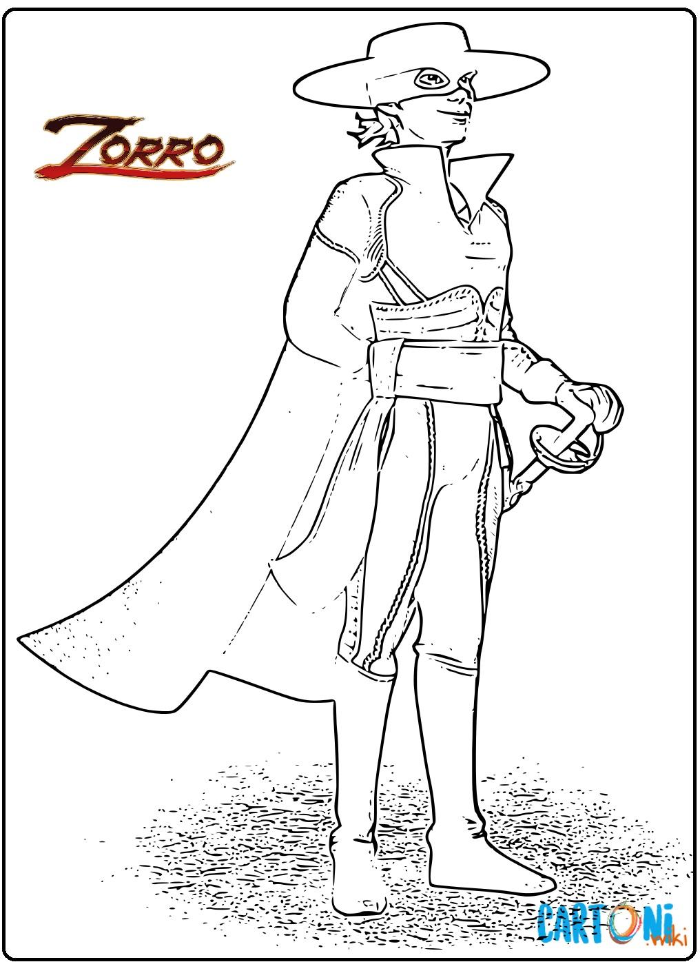 Zorro disegni da colorare - Stampa e colora