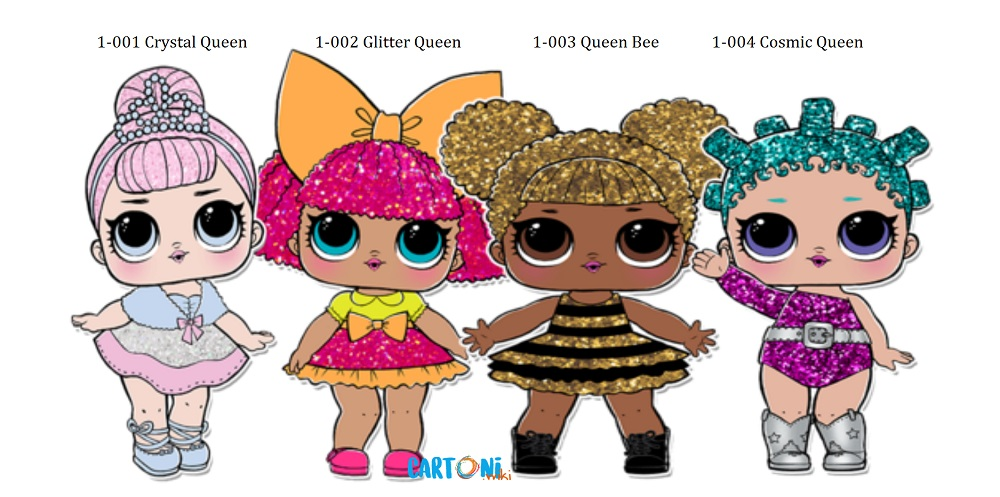 Lol Surprise Serie 1 The Glitterati  Crystal Queen, Glitter Queen, Queen Bee, Cosmic Queen