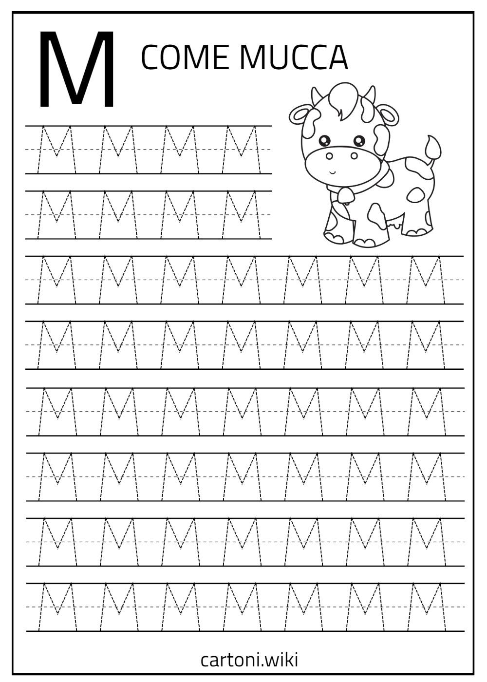 M stampatello - Cartoni animati