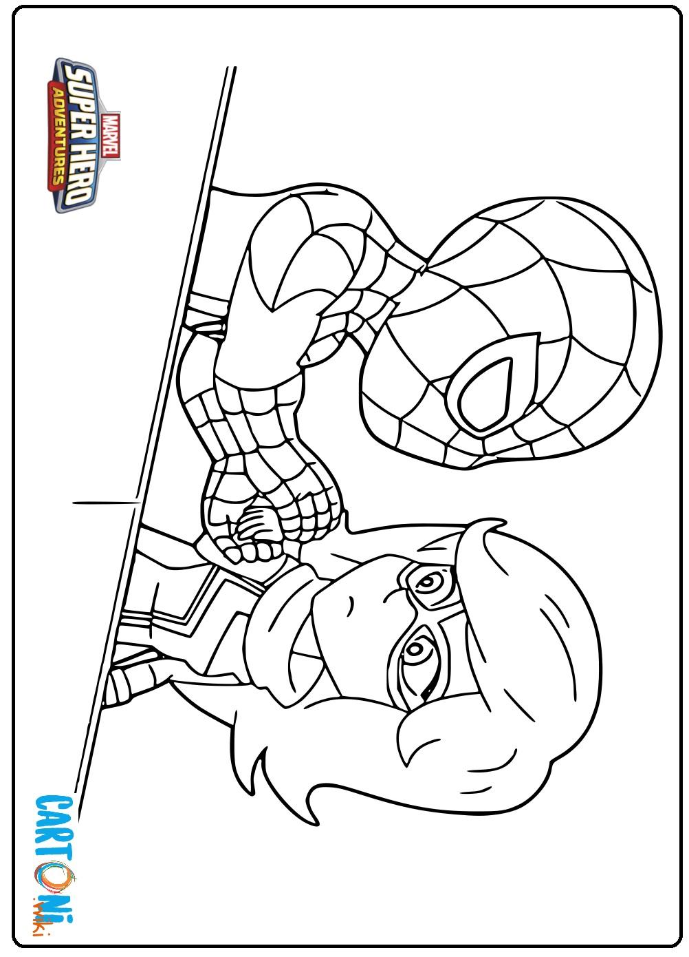 Disegno Spiderman e Miss Marvel  - Disegni da colorare
