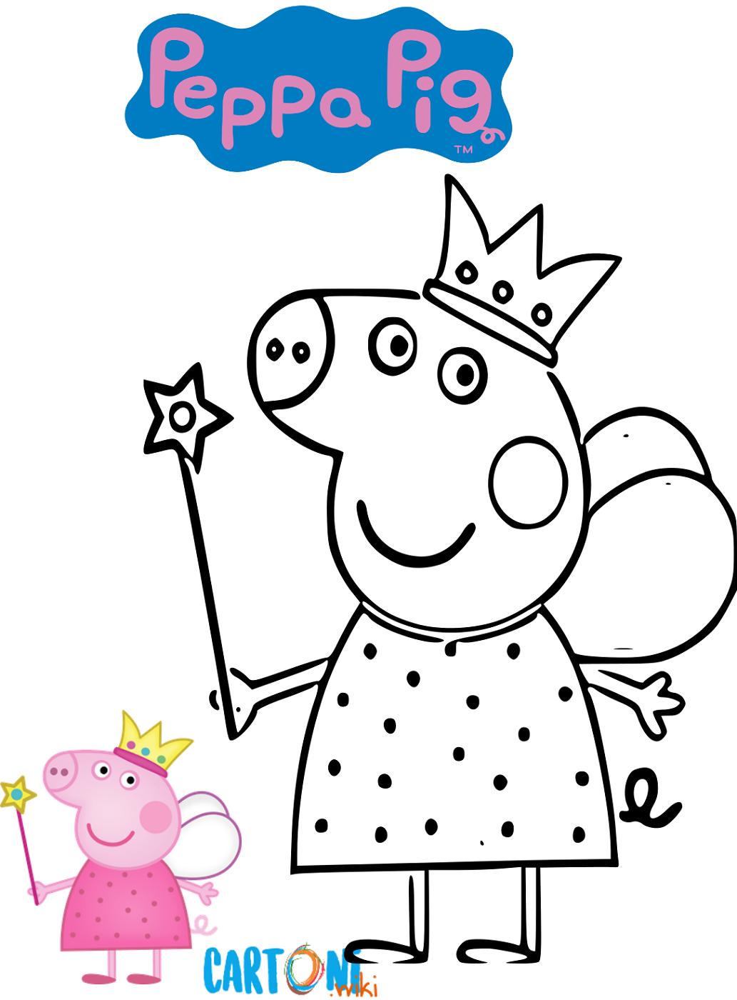 Colora peppa pig fatina cartoni animati for Maschere di peppa pig da colorare