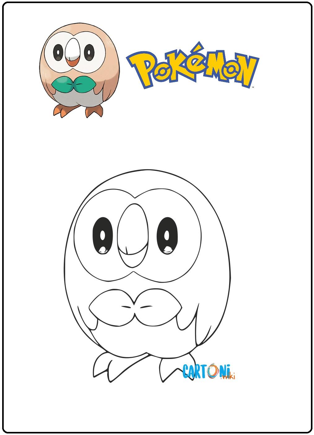 Pokemon Disegno Rowlet Da Colorare Cartoni Animati