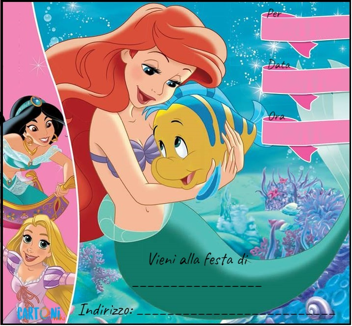 Ariel invito festa di compleanno - Inviti feste di compleanno