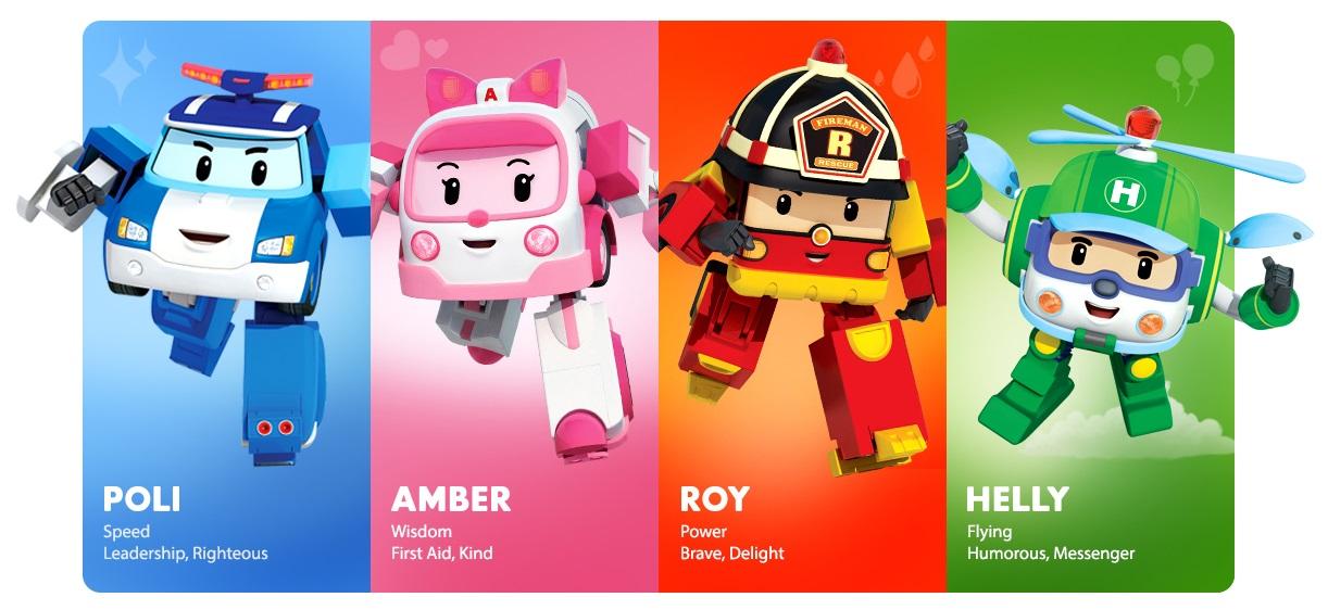 Robocar Poli - Cartoonito - Personaggi - Roy - Amber - Poli - Helly - Cartoni animati