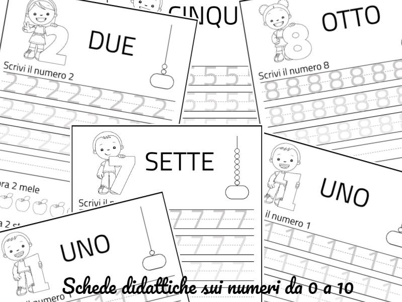 Schede didattiche numeri da 1 a 10 - Cartoni animati