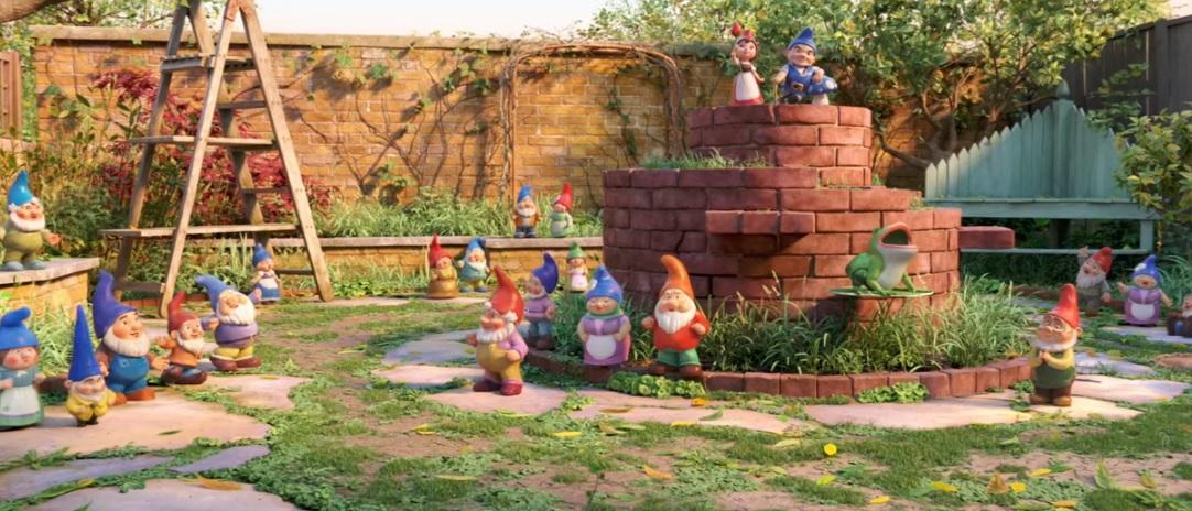 Film d'animazione 2018 Sherlock Gnomes gnomi giardino