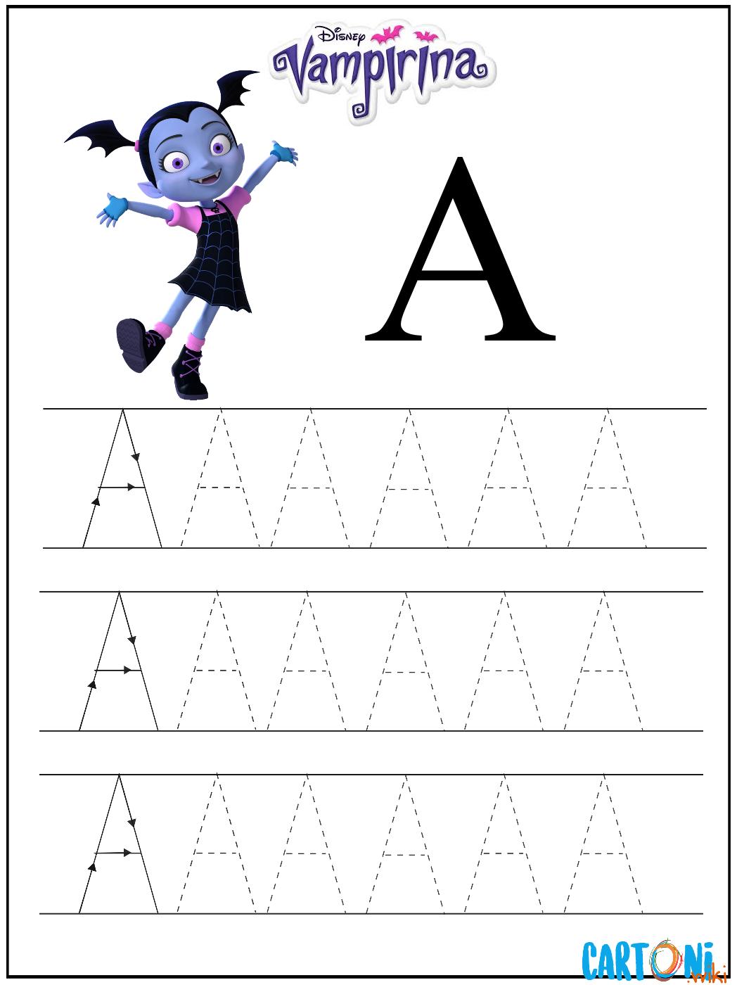 Scrivi la lettera A con Vampirina - Esercizi prescolari - Lettera A