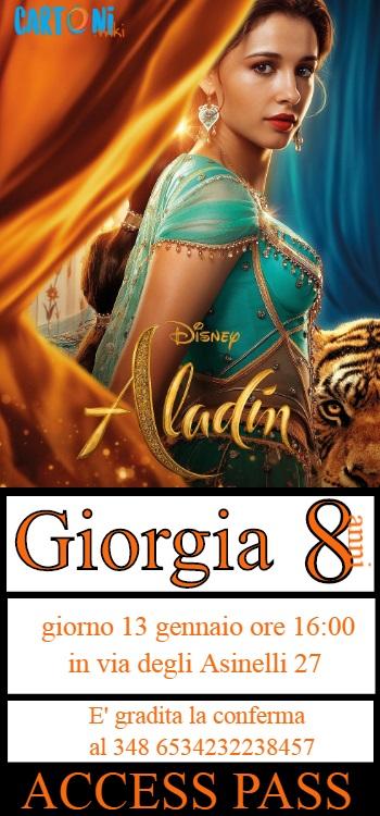 Aladdin invito festa di compleanno bambini da stampare gratis online esempio di personalizzazione con i dati della festa