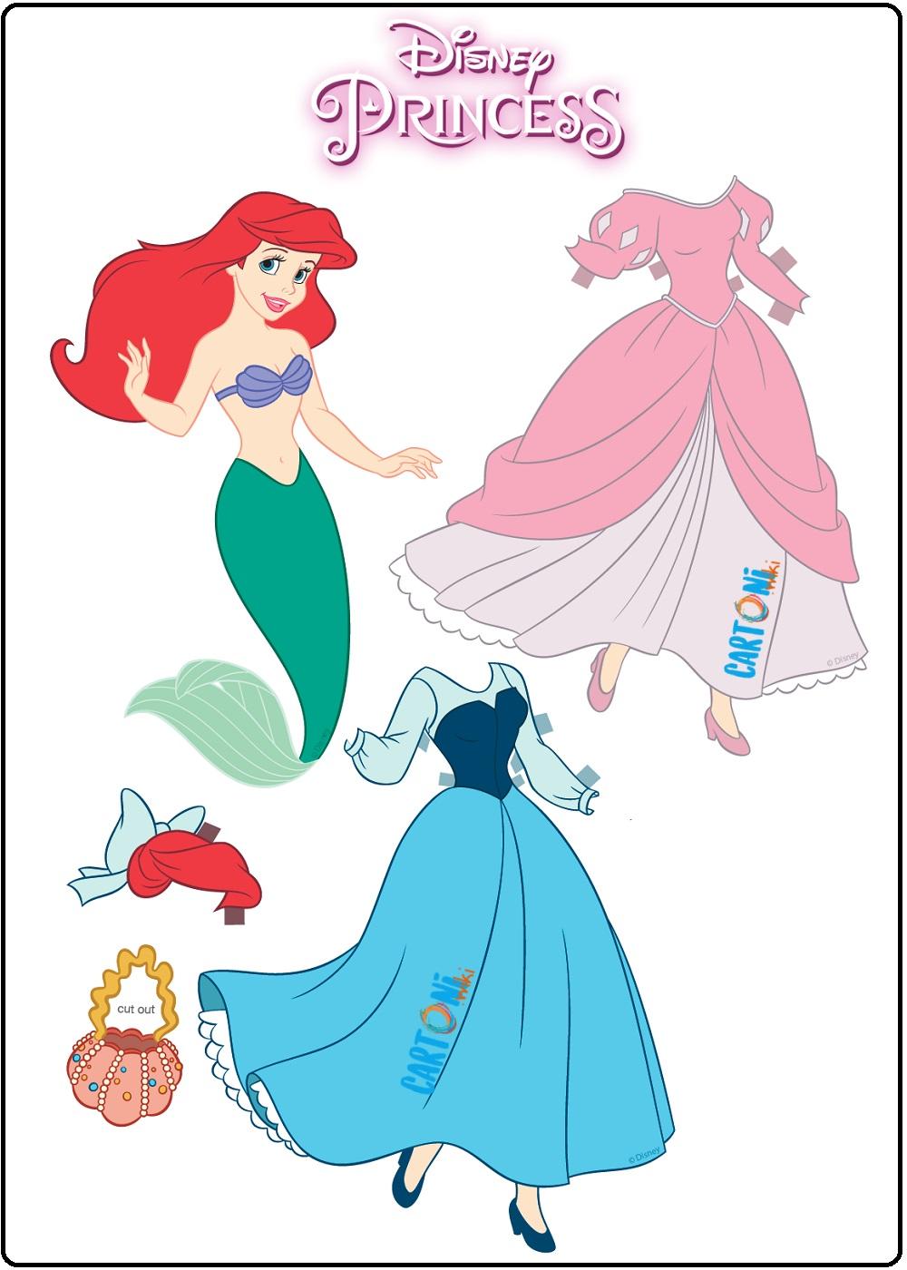 Ariel la sirenetta bambola di carta da vestire - Cartoni animati