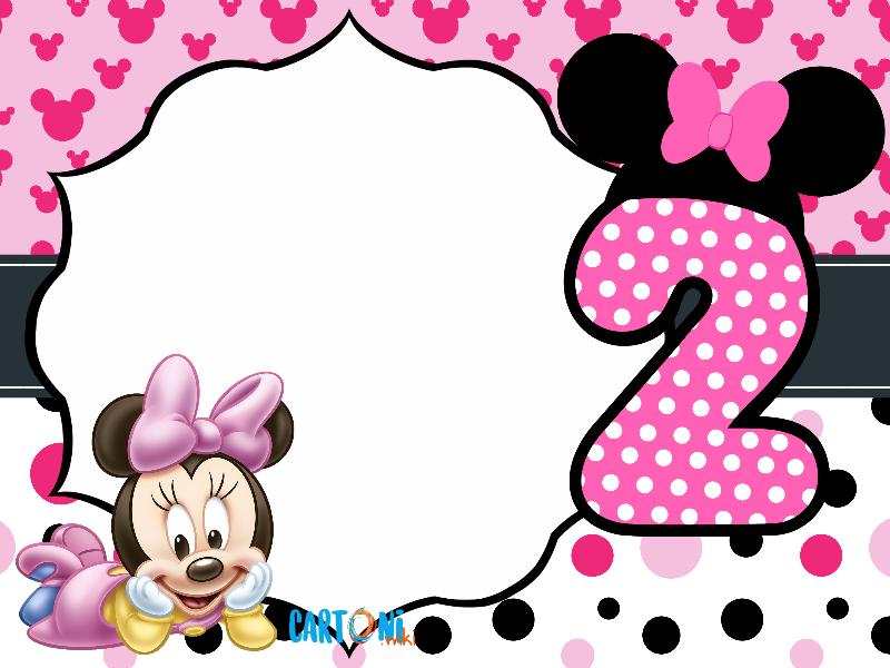 Biglietto auguri Minnie secondo compleanno - Biglietti di auguri da stampare