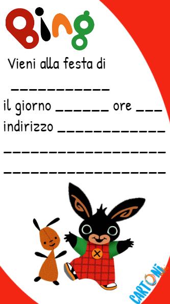 Bing inviti feste di compleanno - inviti bambini online - Bing rabbit party  -bing coniglietto - cartone animato