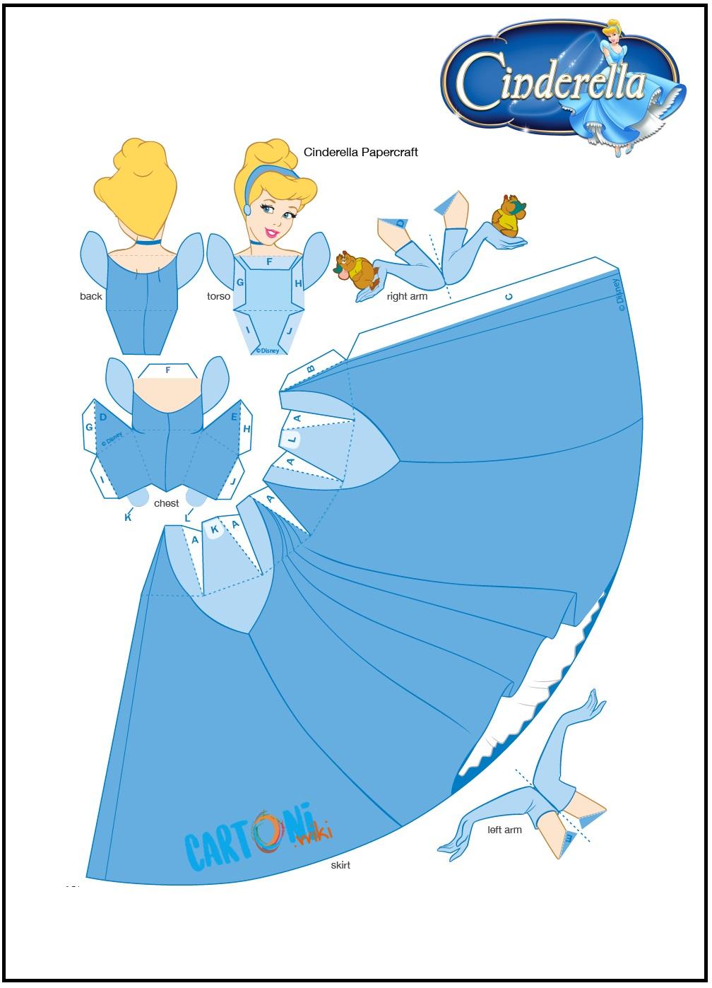 Cenerentola bambola di carta da stampare - Cartoni animati
