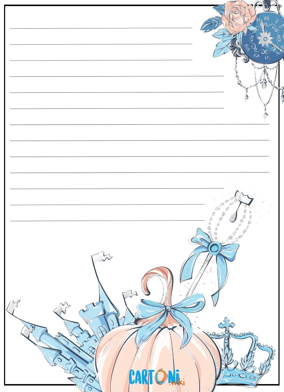 Carta da lettere per bambini Cenerentola - Carta da lettere