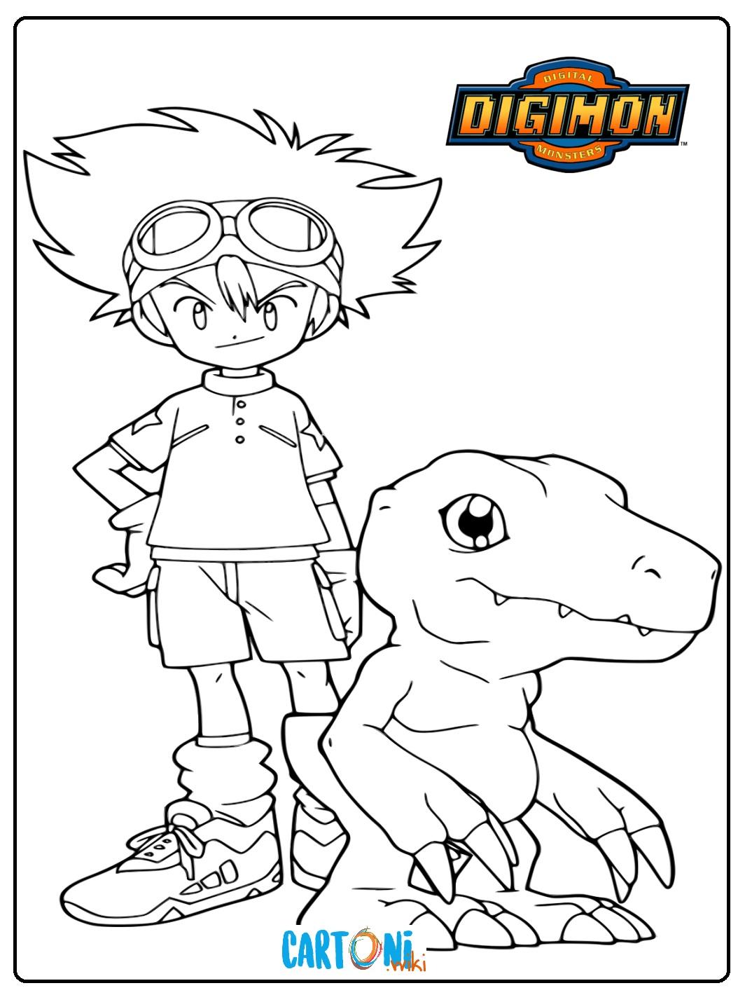 Disegni Digimon Colora Tay Kamiya e Agumon - Stampa e colora