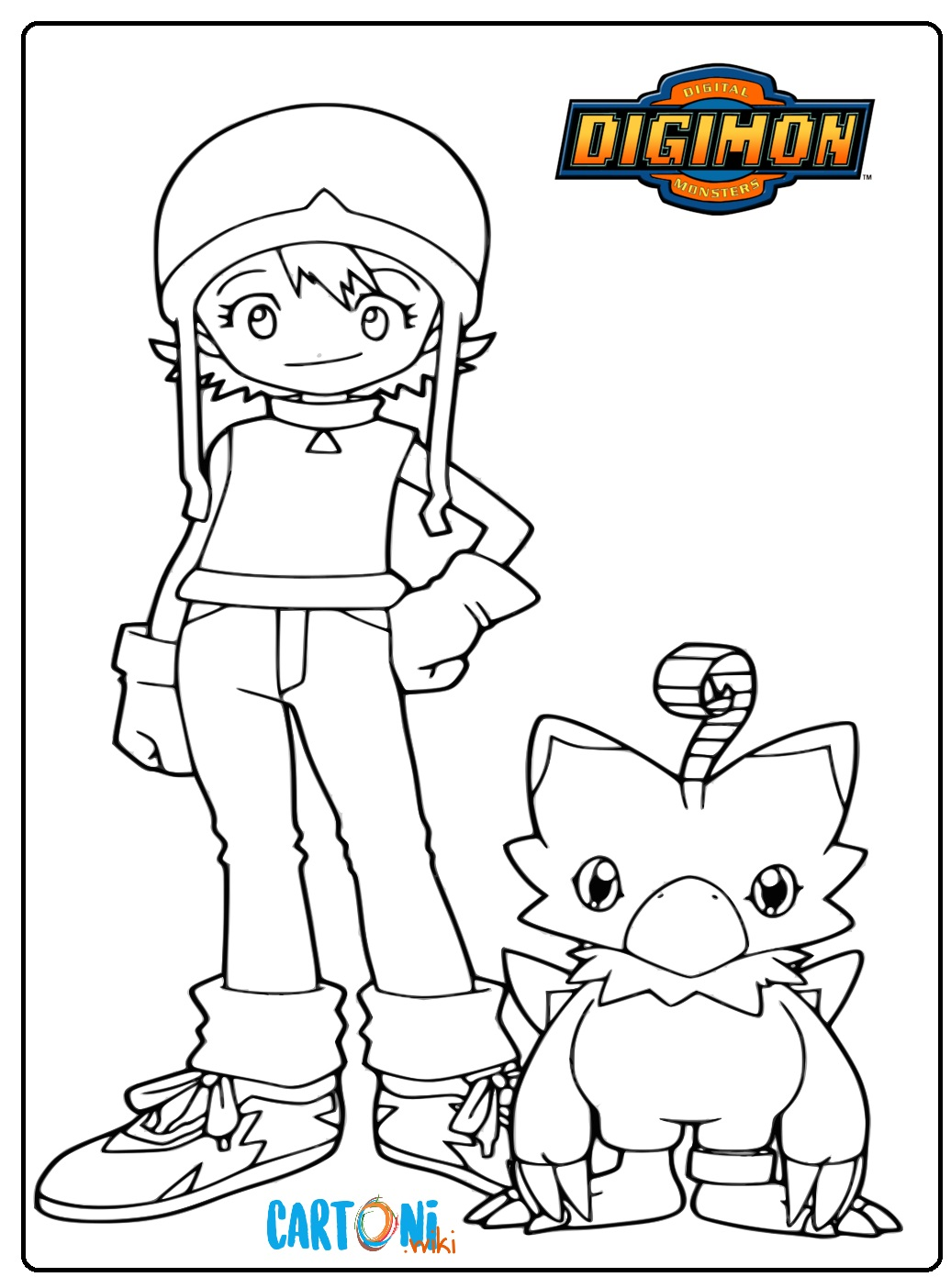Disegni Digimon Colora Sora e Bijomon - Stampa e colora