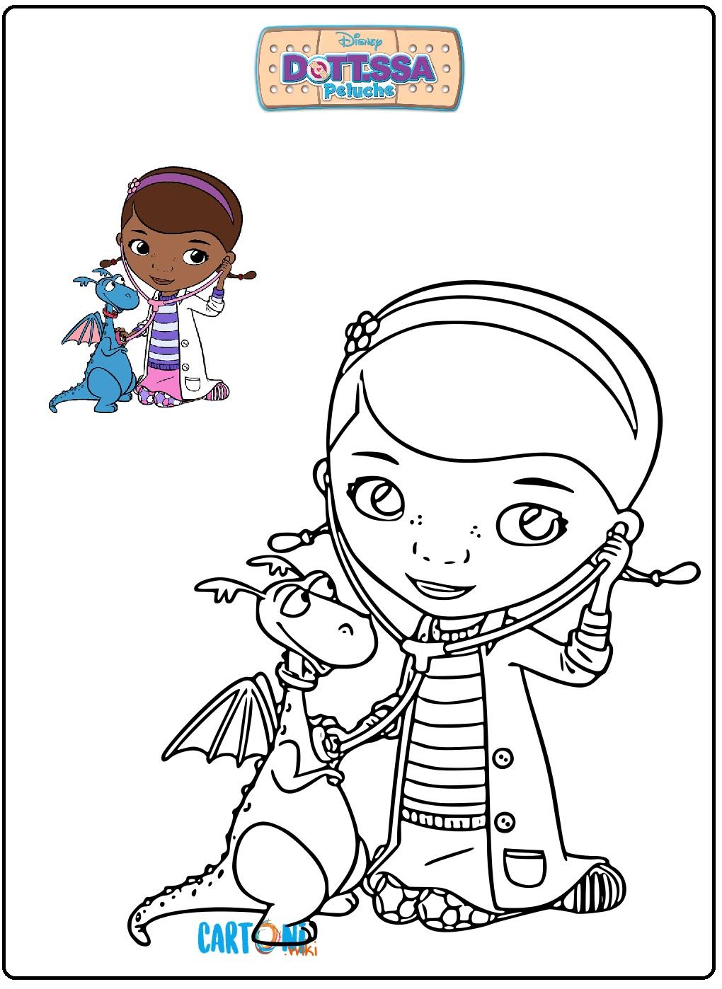 Colora Dottie e Draghetto di Dottoressa Peluche - Stampa e colora