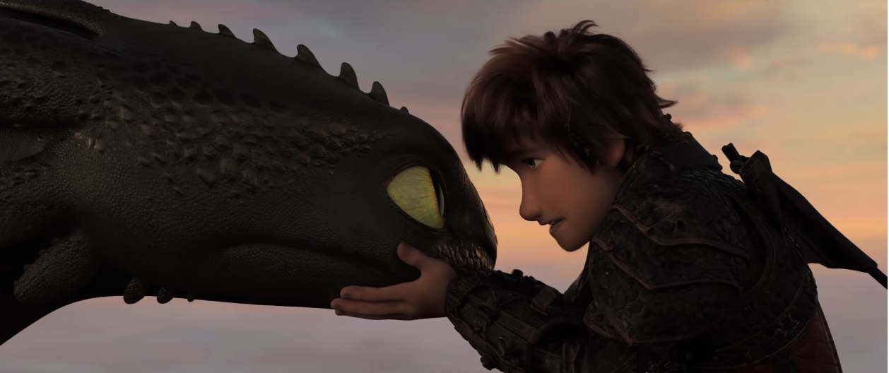 Hiccup abbraccia Sdentato - Dragon Trainer il mondo nascosto - film di animazione 2019 - film Dreamworks - Draghi - How to Train Your Dragon: The Hidden World