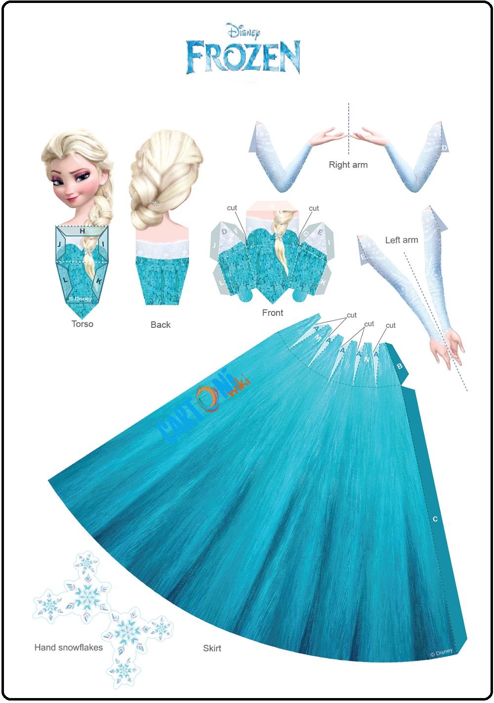 Elsa bambola di carta 3d - Cartoni animati