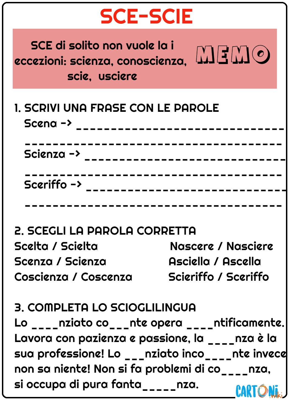 Esercizi SCE SCIE - Esercizi Scuola Primaria