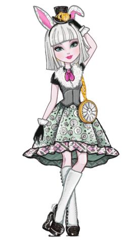 Ever After High Bunny Blanc personaggio cartone animato reale figlia del coniglio bianco in alice nel paese delle meraviglie