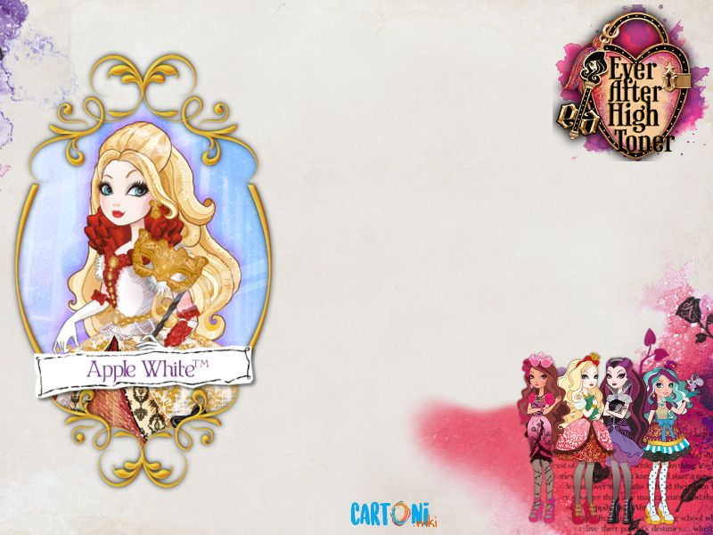 Ever after High template - Cartoni animati, apple white, biancaneve, ragazze, inviti, frames, biglietto, disegno, immagine, design, invito, grazie, edita, scrivi, stampabile, stampa
