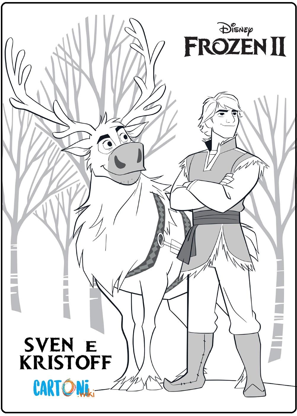 Kristoff e Sven da stampare e colorare - Cartoni animati