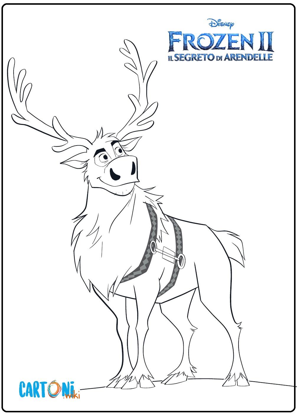 Frozen 2 Sven la renna da colorare - Stampa e colora