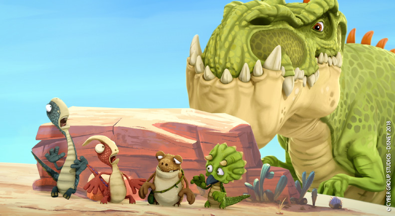 Gigantosaurus cartoni animati prescoalri disney junior cartone dinosauri ROCKY, BILL, TINY e MAZU