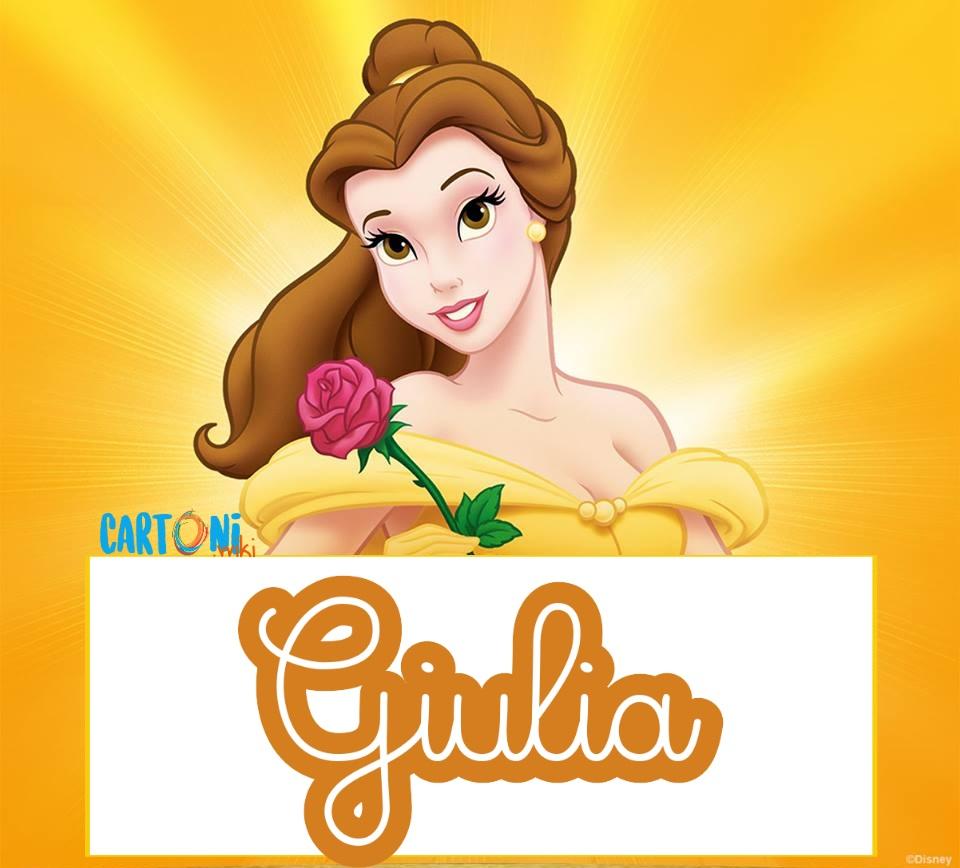 Giulia etichette Disney La bella e la bestia - Cartoni animati