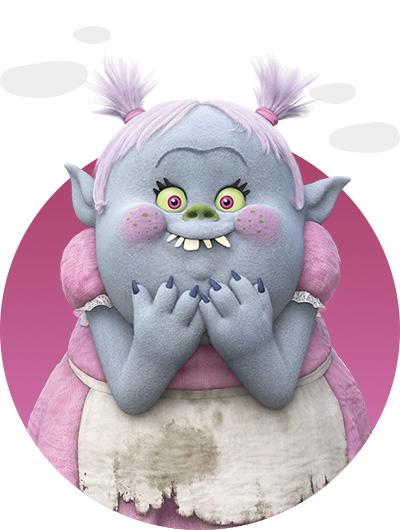 trolls dreamworks cartoni animati personaggi film d'animazione personaggio Brigida dei Bergens Bridget