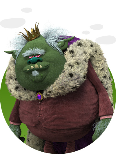 trolls dreamworks cartoni animati personaggi film d'animazione Bergens personaggio Re Gristle
