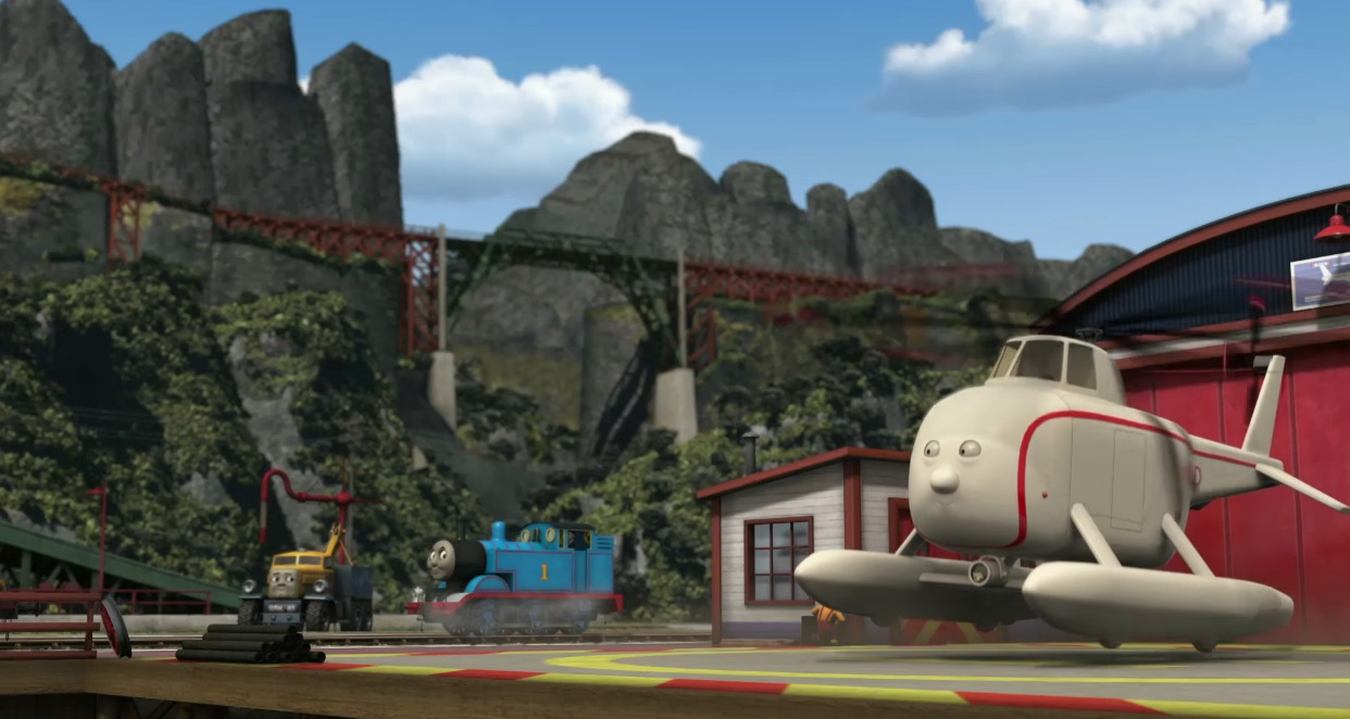 Il trenino Thomas personaggi Elicottero Arold soccorso e salvataggio - personaggio cartone animato il trenino Thomas - cartoni animati