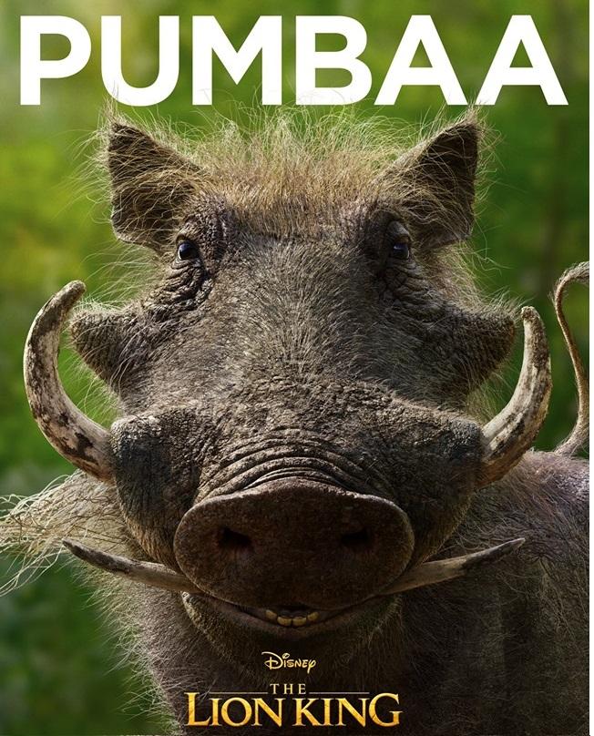Il re leone film Disney 2019 - personaggi Pumbaa