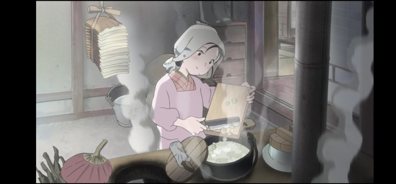 In questo angolo di mondo - Kono sekai no katasumi ni - film di animazione giapponese 2016 - anime -  Suzu lavora per preparara il riso