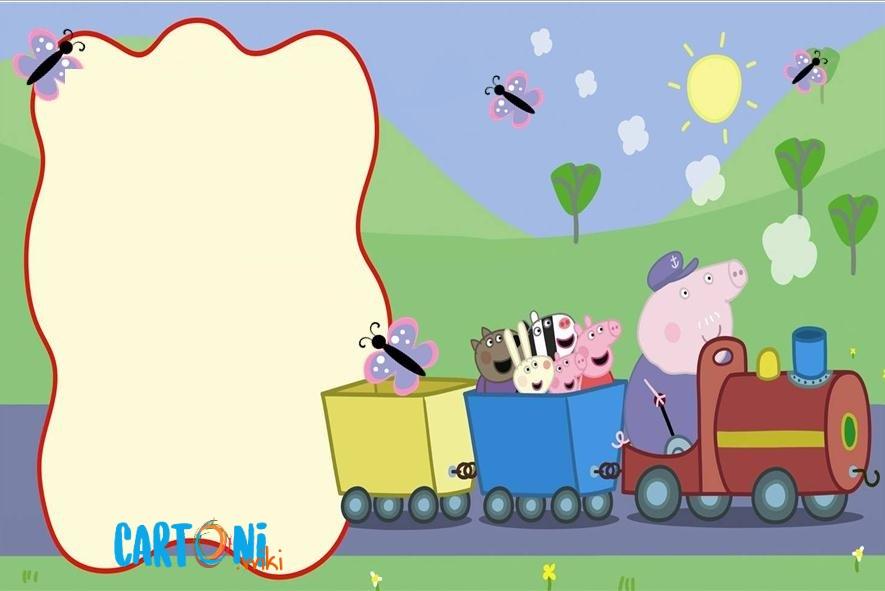 Invito Peppa Pig con trenino del nonno - Inviti compleanno bambini