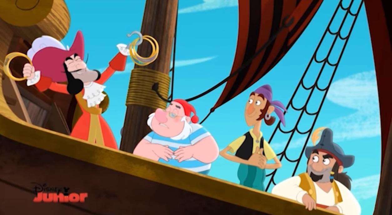 Jake e i pirati dell'isola che non c'è cartone animato Capitan Uncino barca pirata Spugna Randa Fiocco