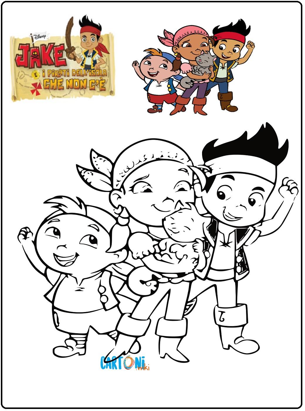 Colora la ciurma dei pirati di Jake - Cartoni animati