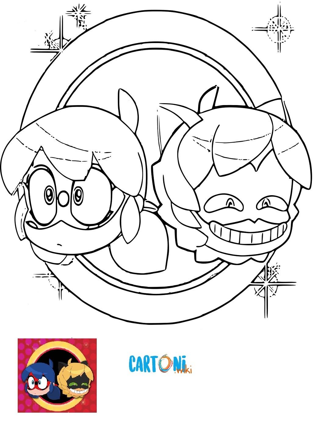 Miraculous - Le storie di Lady Bug e Chat Noir - Chibi Disegni da colorare - Cartoni animati
