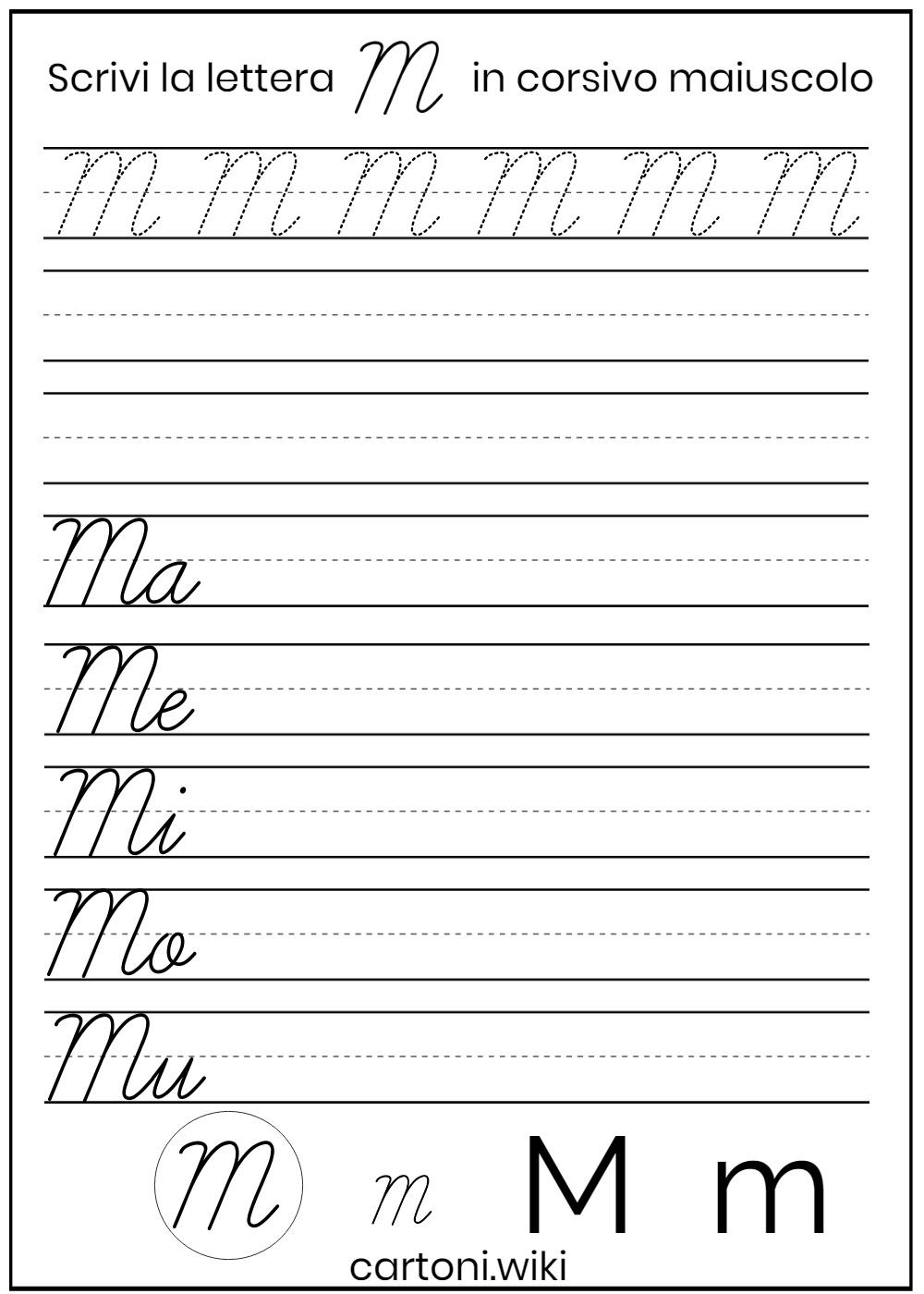 Lettera M corsivo maiuscolo - Cartoni animati