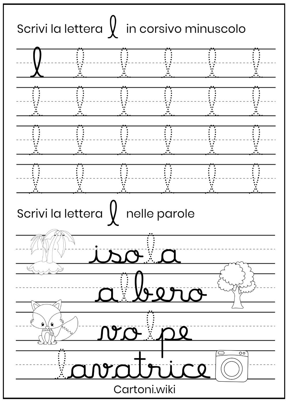 Lettera l corsivo minuscolo - Cartoni animati