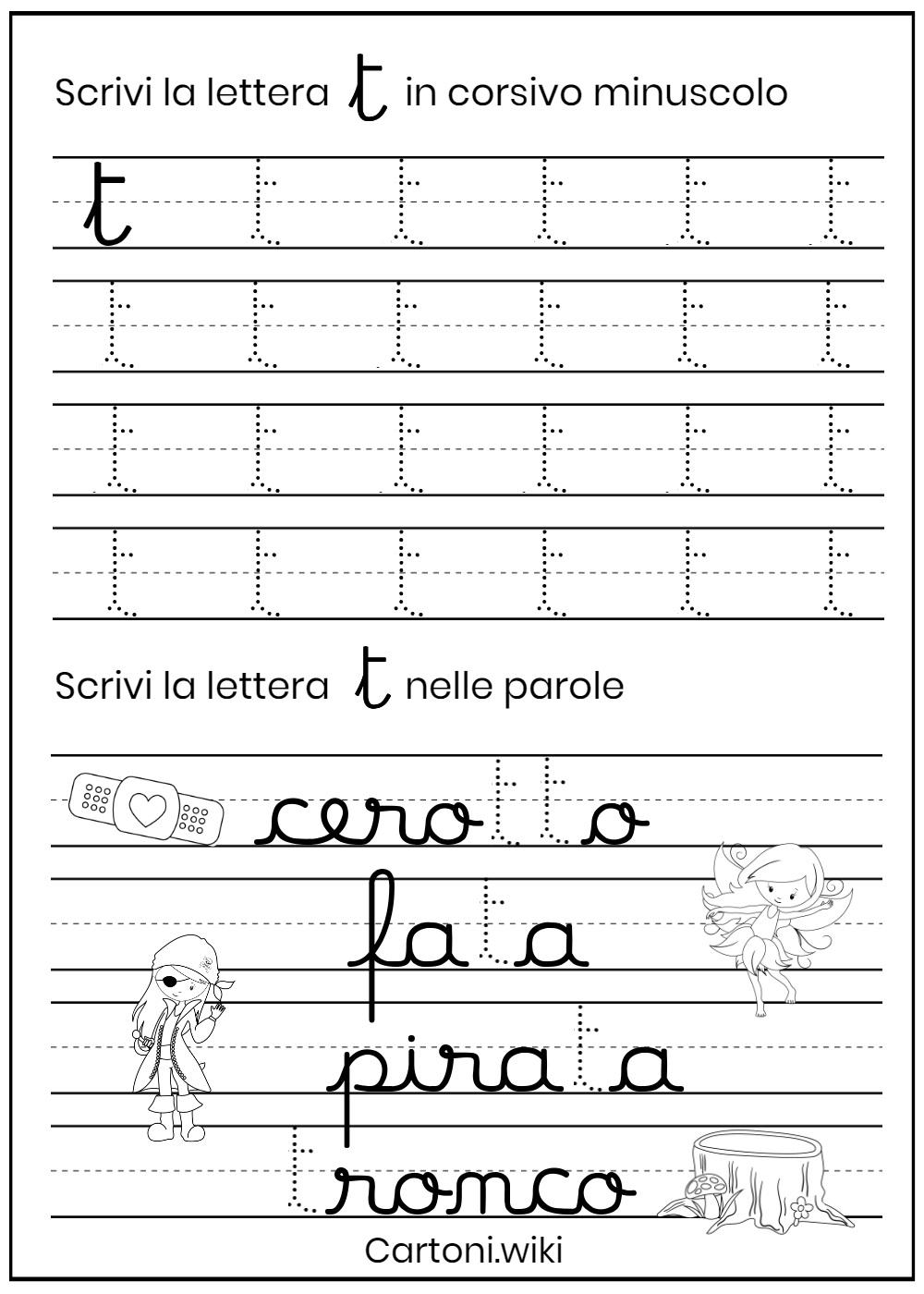Lettera t corsivo minuscolo - Cartoni animati