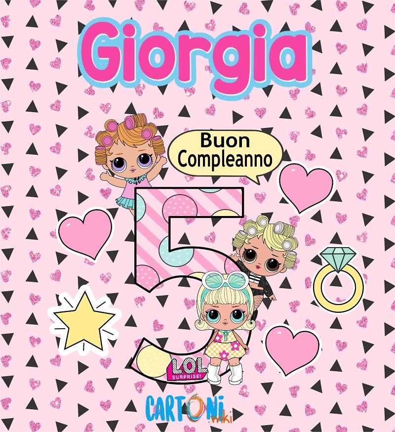 Auguri per i tuoi 5 anni Giorgia - Buon compleanno 5 anni Giorgia