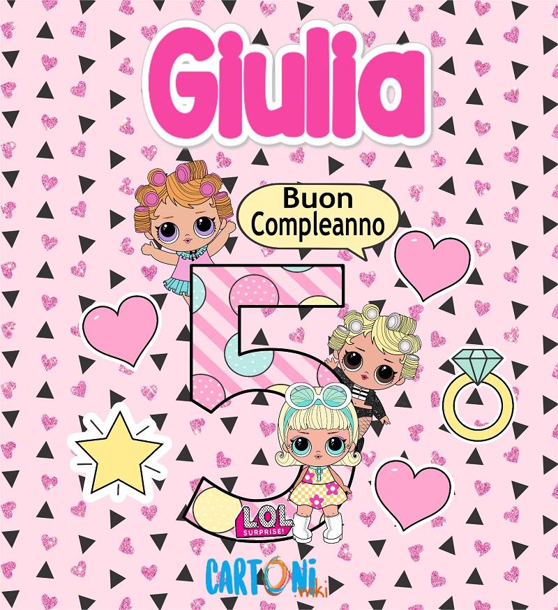 Auguri per i tuoi 5 anni Giulia - Buon compleanno 5 anni Giulia