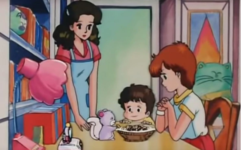 Magica Magica Emi cartoni animati giapponesi anime italia 1 italia 2 - La famiglai di Mai con mamma e Giuppi