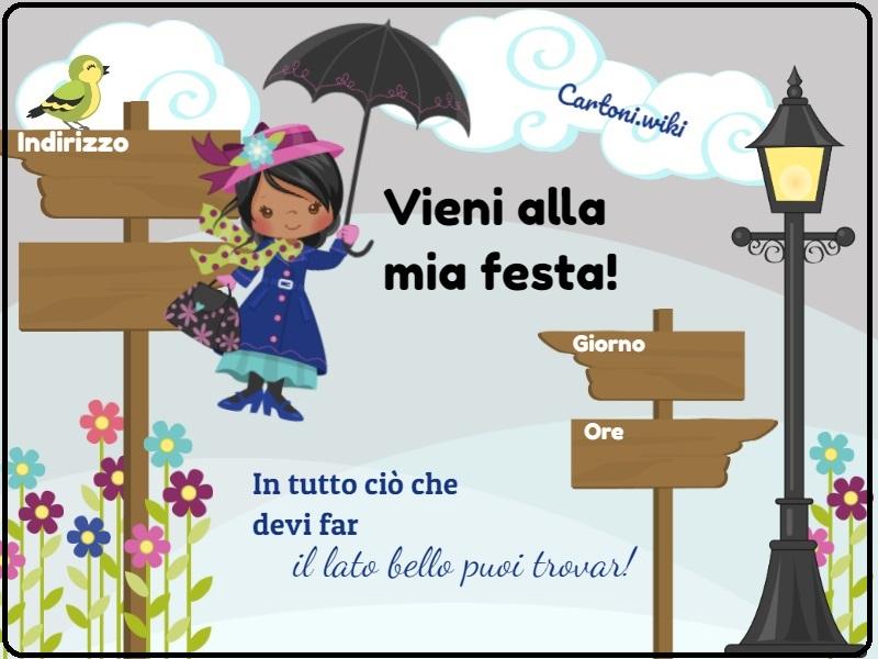 Inviti compleanno Mary Poppins - Inviti feste di compleanno whatsapp